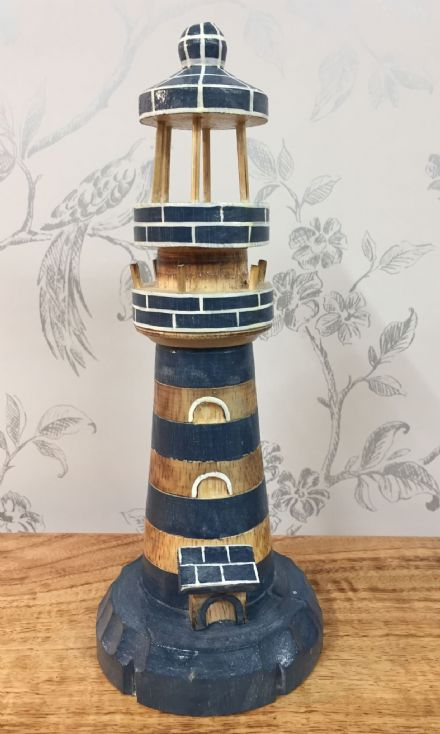 Wooden Blue Lighthouse Hand Carved Nautical Ornament (M)